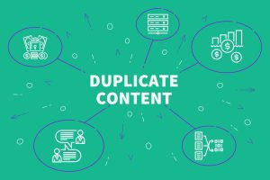 Conceptual business illustration with the words duplicate content